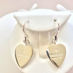 Gucci sterling silver heart drop earrings